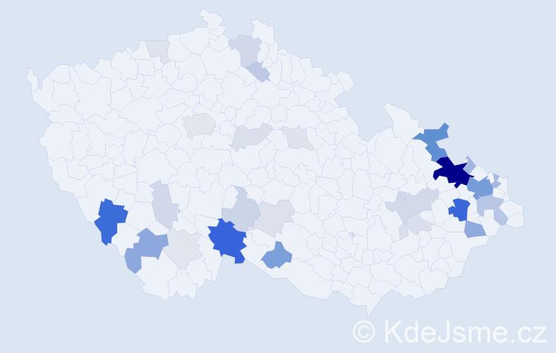 Příjmení: 'Balová', počet výskytů 97 v celé ČR