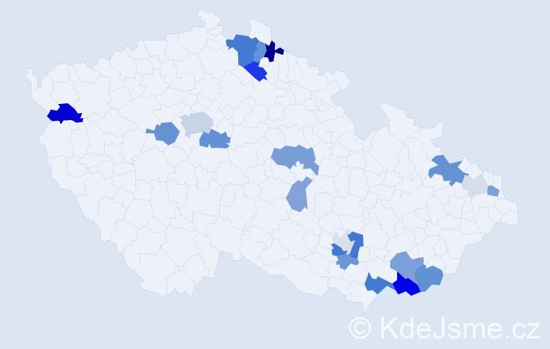 Příjmení: 'Kolník', počet výskytů 46 v celé ČR