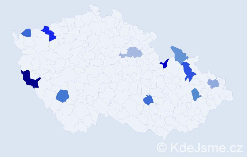 Příjmení: 'Gieblová', počet výskytů 30 v celé ČR