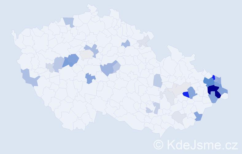 Příjmení: 'Damková', počet výskytů 148 v celé ČR