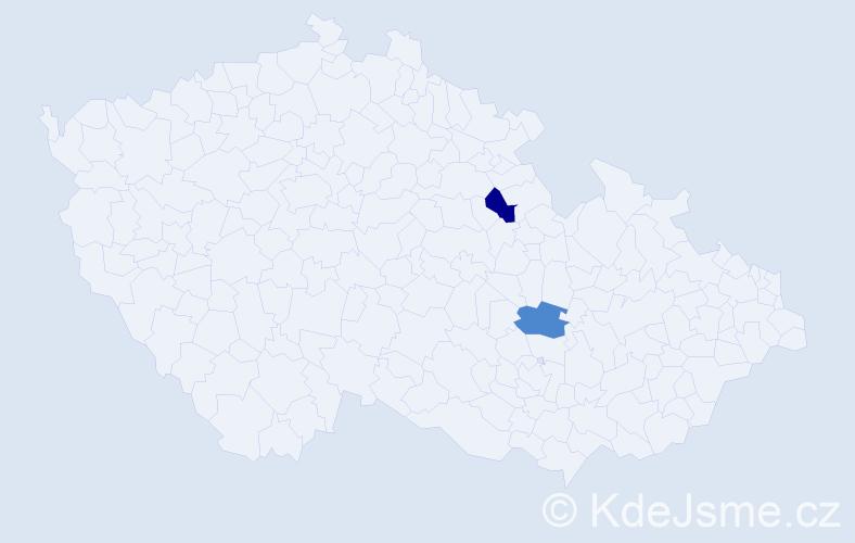 Příjmení: 'Heins', počet výskytů 2 v celé ČR