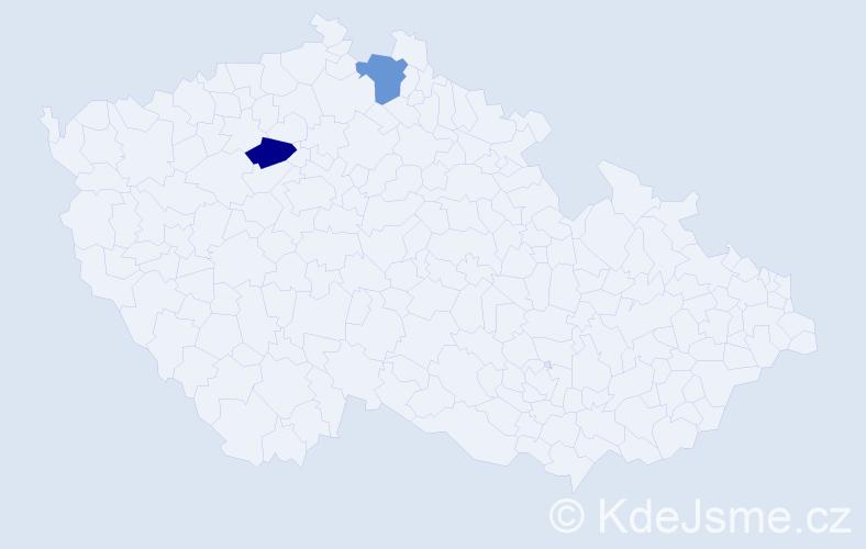 Příjmení: 'Lacher', počet výskytů 2 v celé ČR