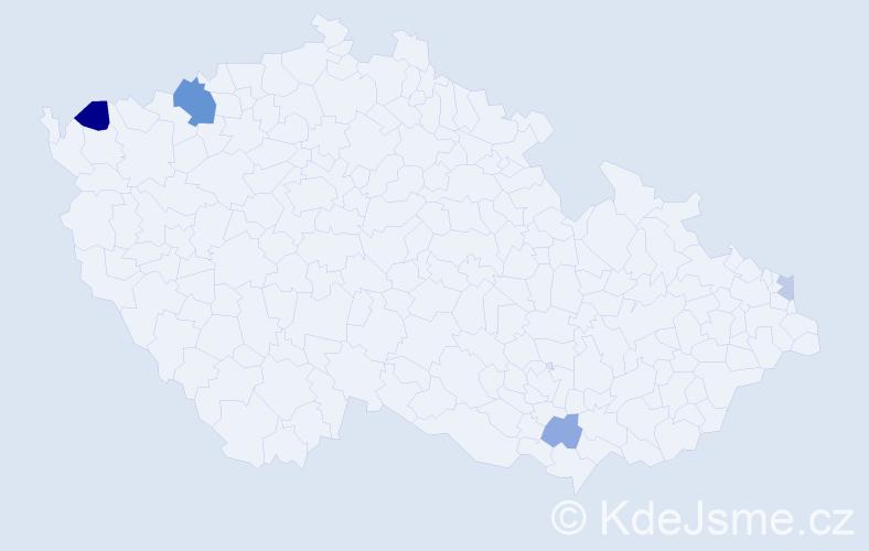 Příjmení: 'Halachová', počet výskytů 8 v celé ČR