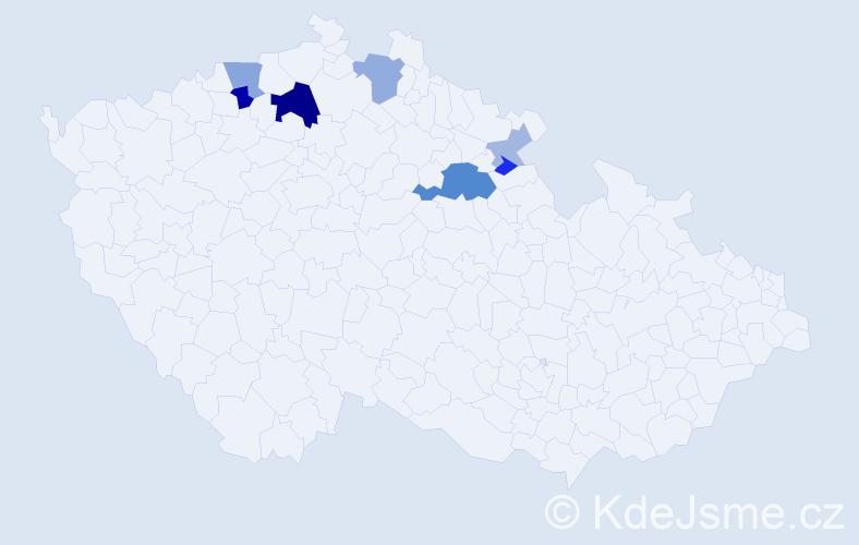 Příjmení: 'Kohlertová', počet výskytů 19 v celé ČR