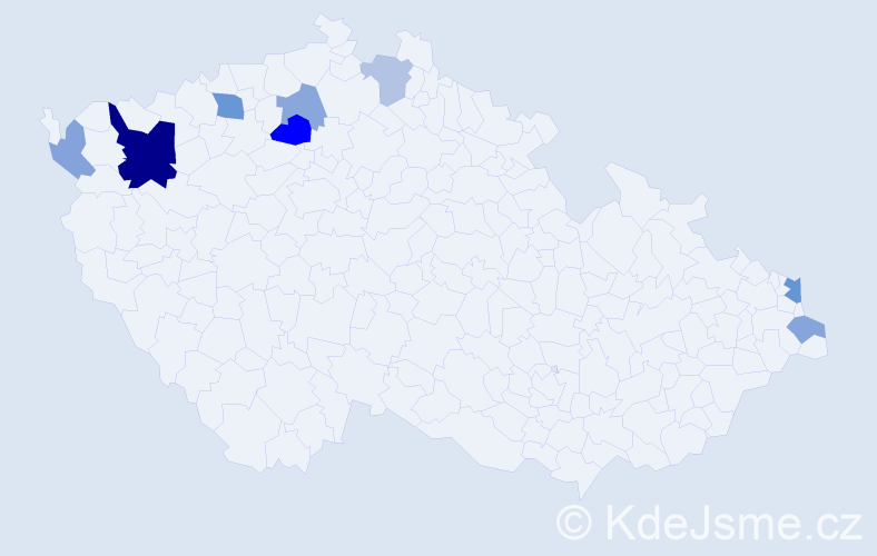 Příjmení: 'Gáspár', počet výskytů 16 v celé ČR
