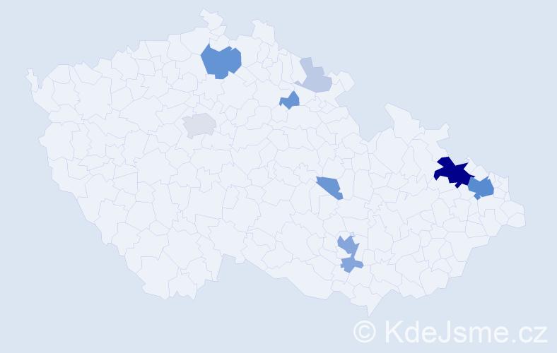 Příjmení: 'Čerbák', počet výskytů 45 v celé ČR