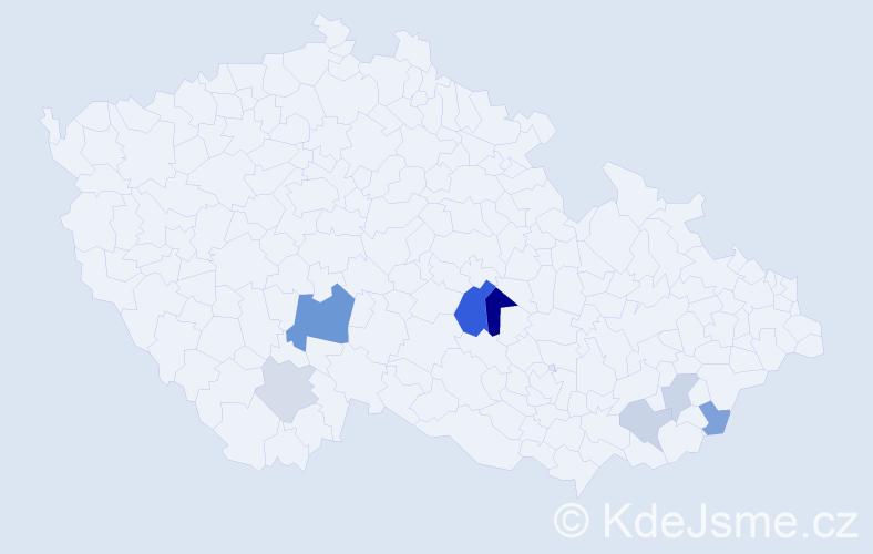 Příjmení: 'Jakšič', počet výskytů 15 v celé ČR