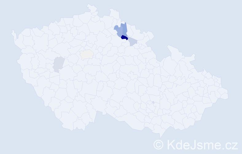 Příjmení: 'Čmuchal', počet výskytů 14 v celé ČR