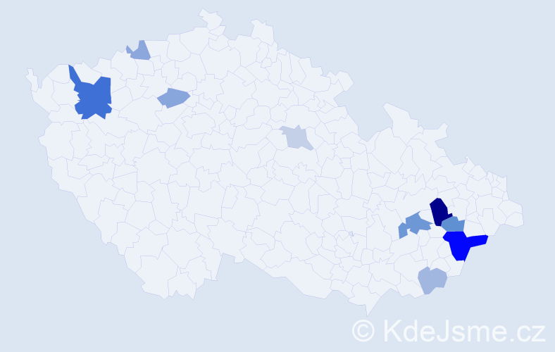 Příjmení: 'Dornica', počet výskytů 24 v celé ČR
