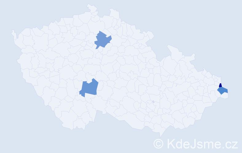 Příjmení: 'Čiak', počet výskytů 4 v celé ČR
