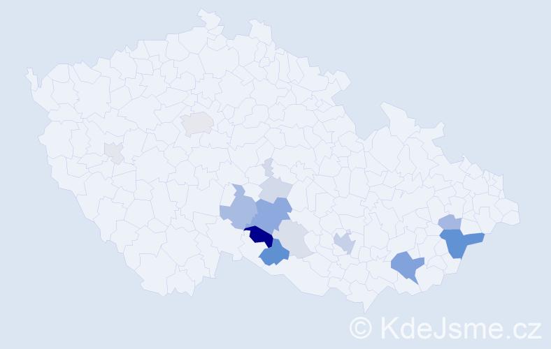 Příjmení: 'Kumbárová', počet výskytů 44 v celé ČR