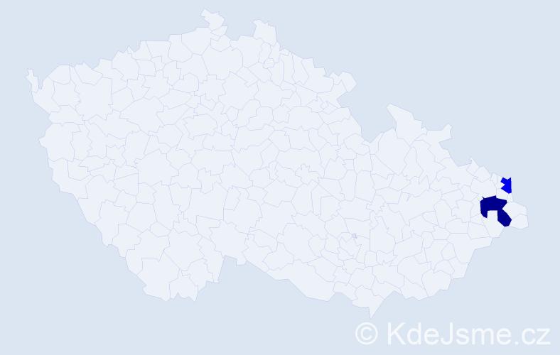 Příjmení: 'Jarčok', počet výskytů 5 v celé ČR