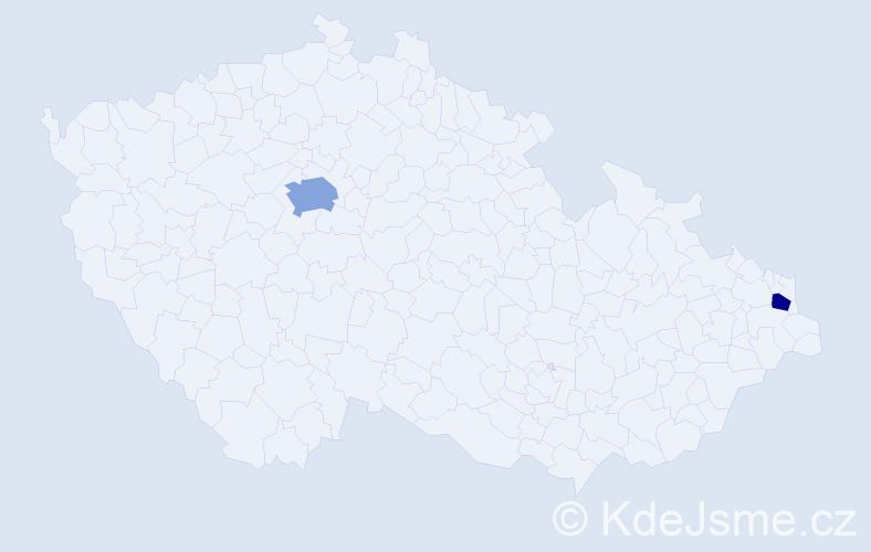 Příjmení: 'Čandíková', počet výskytů 3 v celé ČR