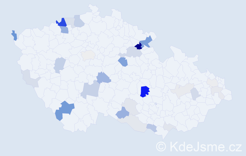 Příjmení: 'Cisár', počet výskytů 82 v celé ČR