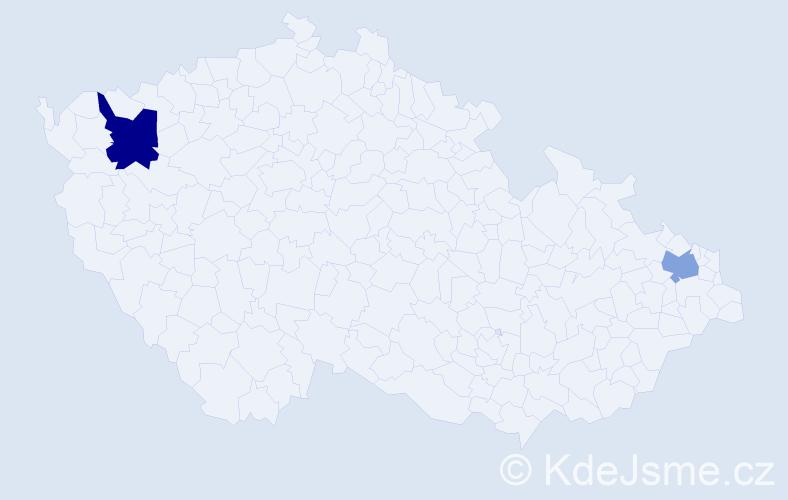 Příjmení: 'Leech', počet výskytů 5 v celé ČR