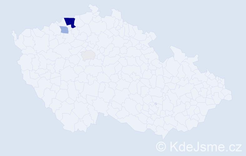 Příjmení: 'Bennerová', počet výskytů 9 v celé ČR