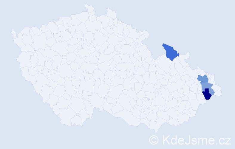Příjmení: 'Kanáliková', počet výskytů 6 v celé ČR