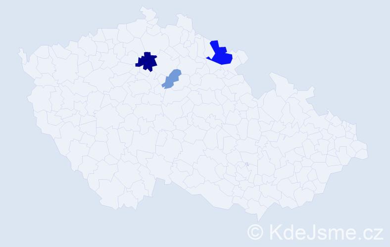 Příjmení: 'Fiebingerová', počet výskytů 17 v celé ČR