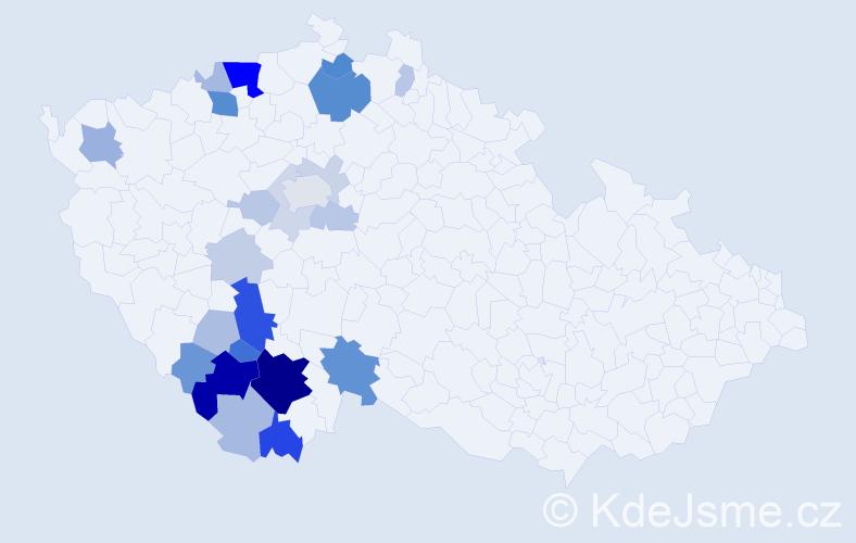 Příjmení: 'Čondlová', počet výskytů 72 v celé ČR