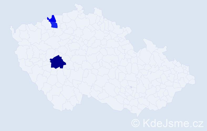 Příjmení: 'Coníková', počet výskytů 9 v celé ČR