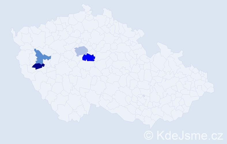 Příjmení: 'Čentešová', počet výskytů 8 v celé ČR