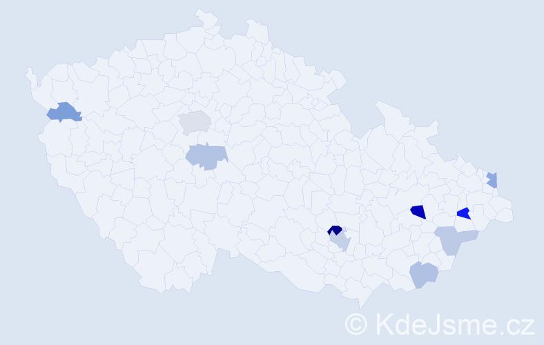 Příjmení: 'Čiernik', počet výskytů 20 v celé ČR