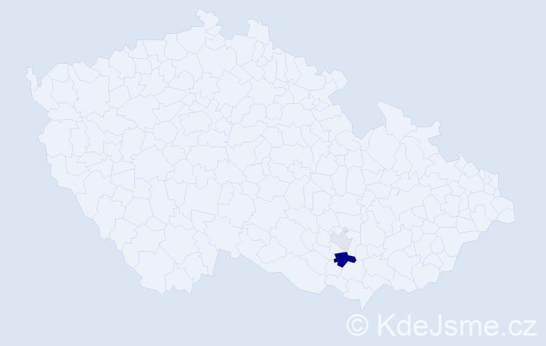 Příjmení: 'Ilčáková', počet výskytů 5 v celé ČR