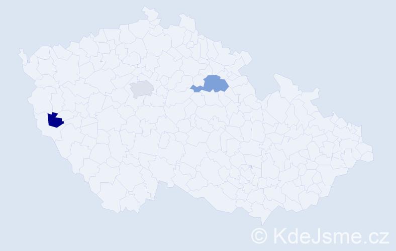 Příjmení: 'Bender', počet výskytů 5 v celé ČR