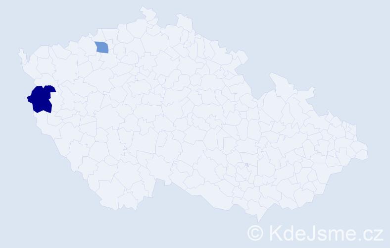 Příjmení: 'Anslová', počet výskytů 5 v celé ČR