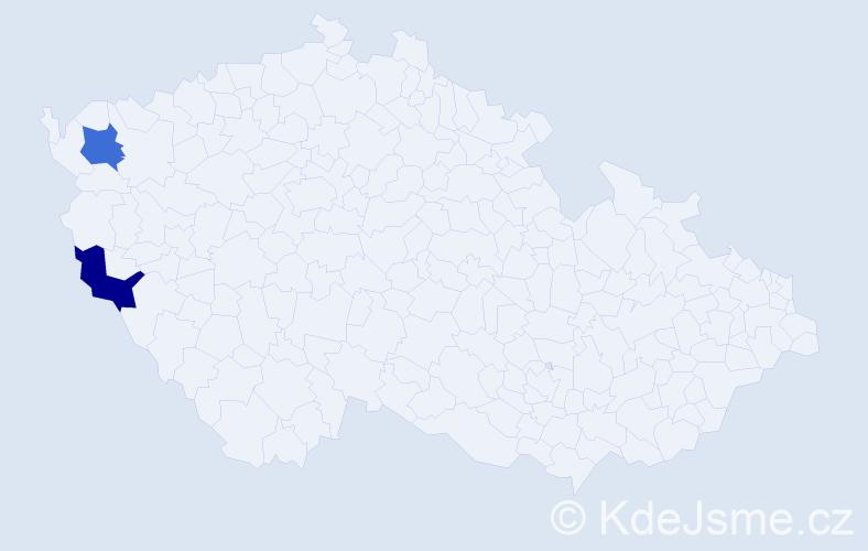 Příjmení: 'Eisenhamr', počet výskytů 2 v celé ČR