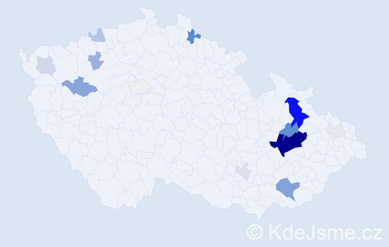 Příjmení: 'Číhalíková', počet výskytů 45 v celé ČR