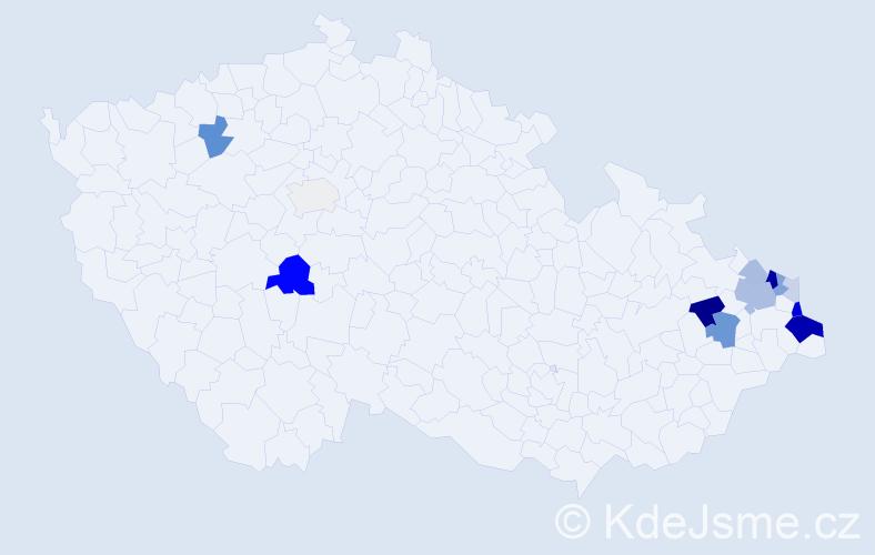 Příjmení: 'Klosková', počet výskytů 39 v celé ČR
