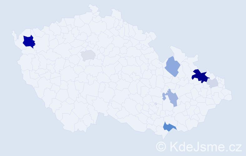 Příjmení: 'Dubinský', počet výskytů 18 v celé ČR