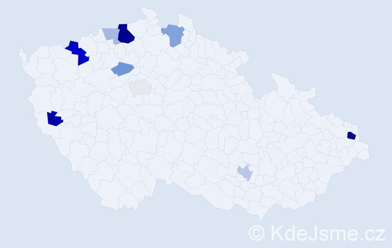 Příjmení: 'Hajaš', počet výskytů 24 v celé ČR