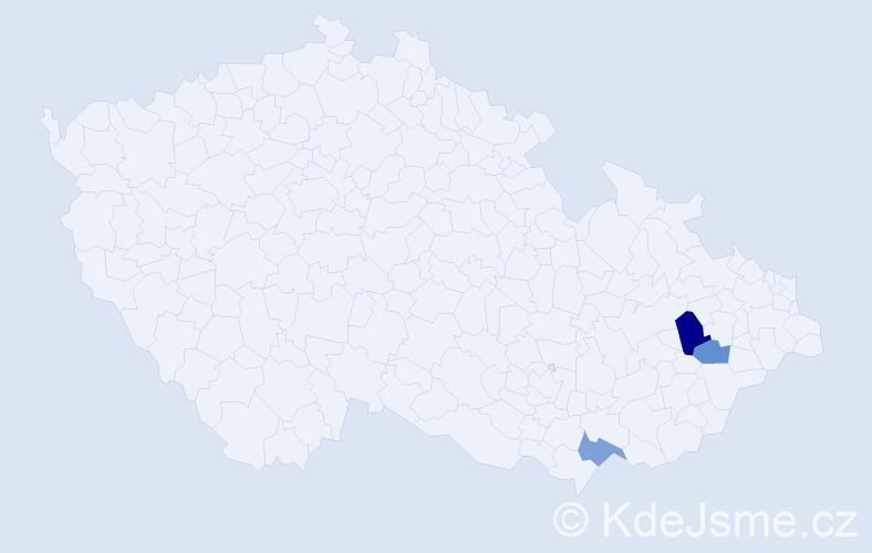 Příjmení: 'Čáran', počet výskytů 4 v celé ČR