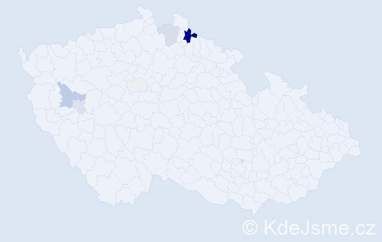 Příjmení: 'Kačán', počet výskytů 8 v celé ČR