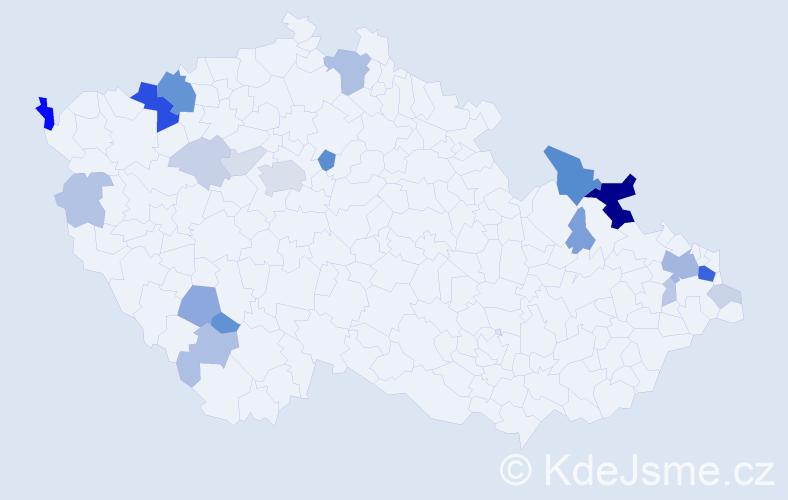 Příjmení: 'Goral', počet výskytů 67 v celé ČR
