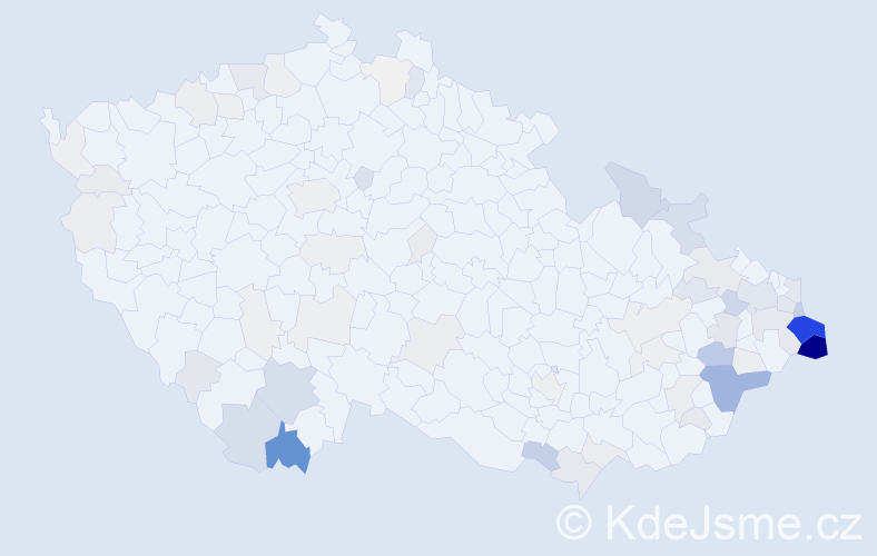 Příjmení: 'Labaj', počet výskytů 303 v celé ČR