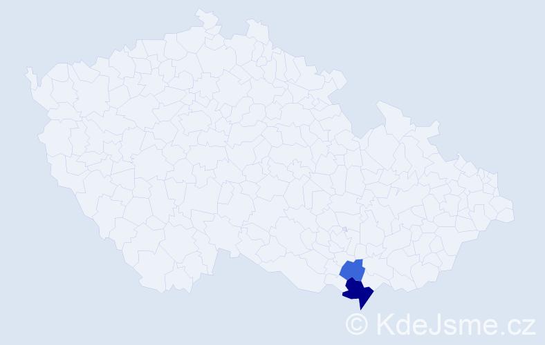 Příjmení: 'Hajmonová', počet výskytů 4 v celé ČR