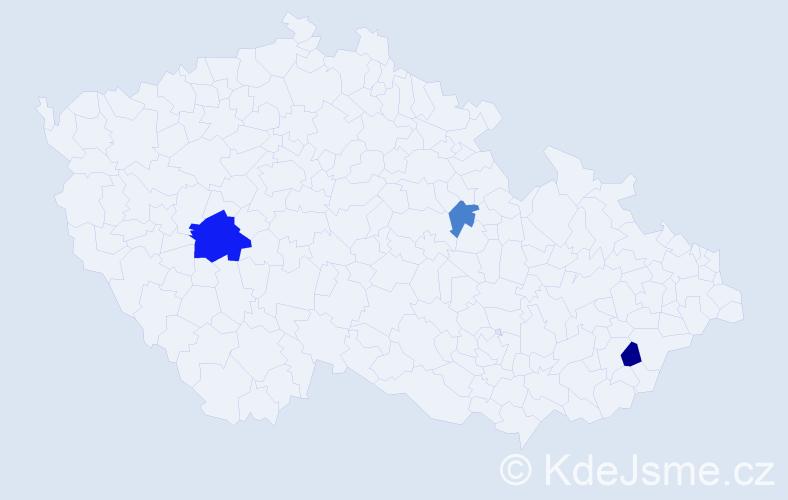 Příjmení: 'Kirka', počet výskytů 5 v celé ČR