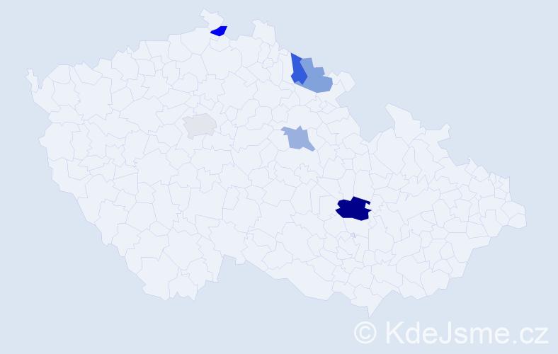 Příjmení: 'Gyšov', počet výskytů 8 v celé ČR