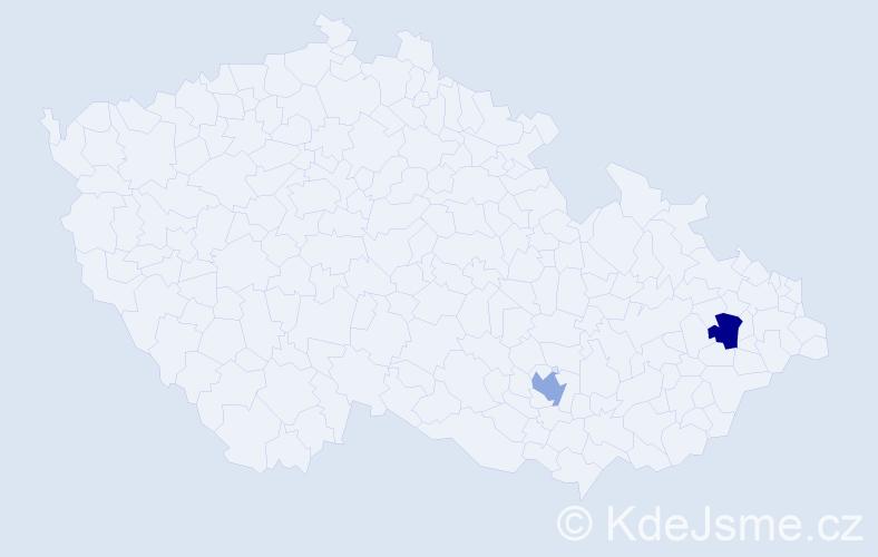 Příjmení: 'Gaudenzi', počet výskytů 2 v celé ČR