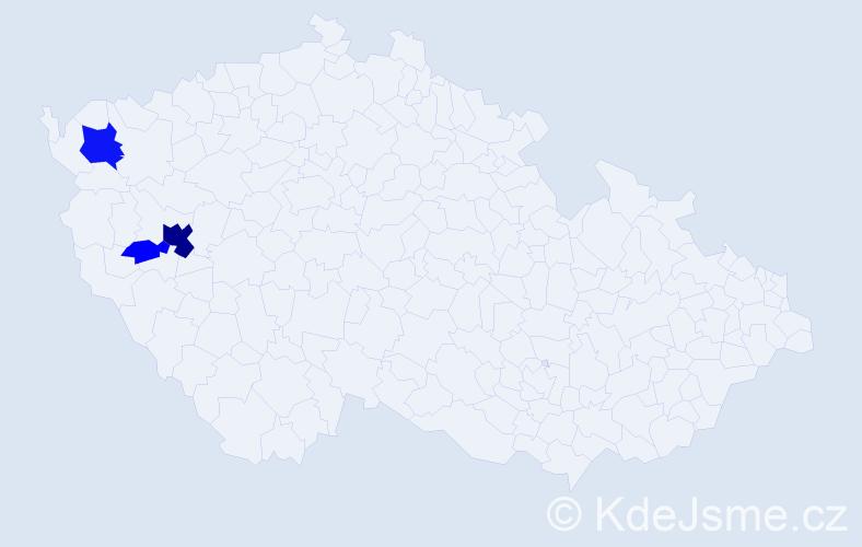 Příjmení: 'Lazebník', počet výskytů 11 v celé ČR