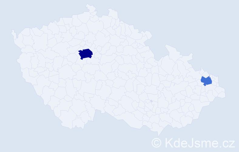 Příjmení: 'Ječmíková', počet výskytů 7 v celé ČR