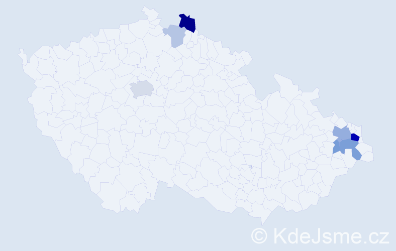 Příjmení: 'Gajdáček', počet výskytů 18 v celé ČR