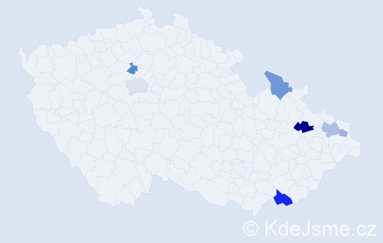 Příjmení: 'Ječmének', počet výskytů 10 v celé ČR