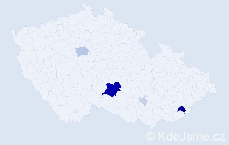 Příjmení: 'Činčár', počet výskytů 10 v celé ČR