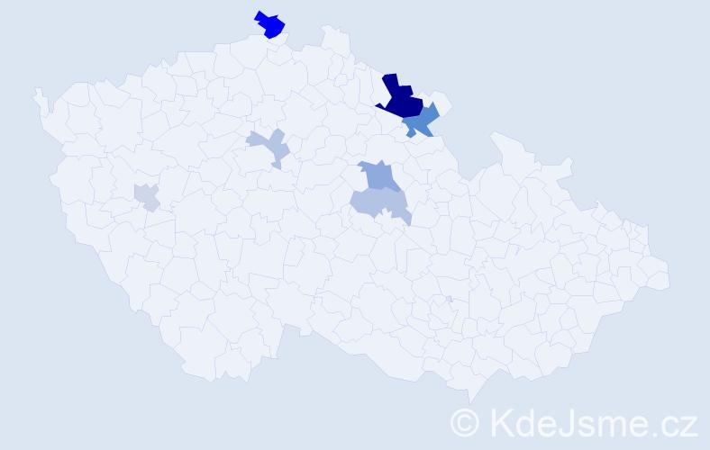 Příjmení: 'Cobl', počet výskytů 18 v celé ČR