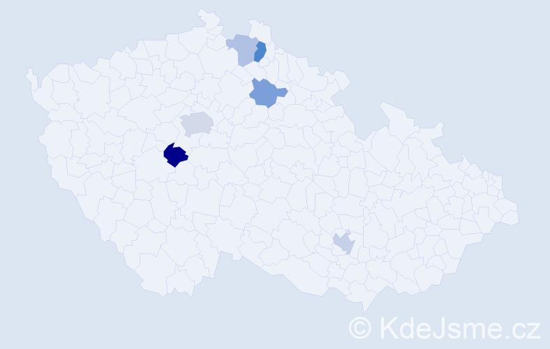 Příjmení: 'Hemek', počet výskytů 20 v celé ČR