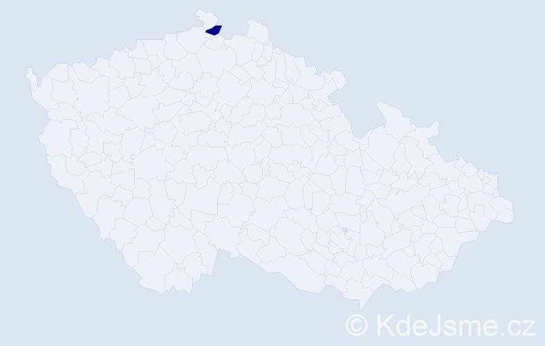 """Příjmení: '""""Hulánová Makalová""""', počet výskytů 1 v celé ČR"""